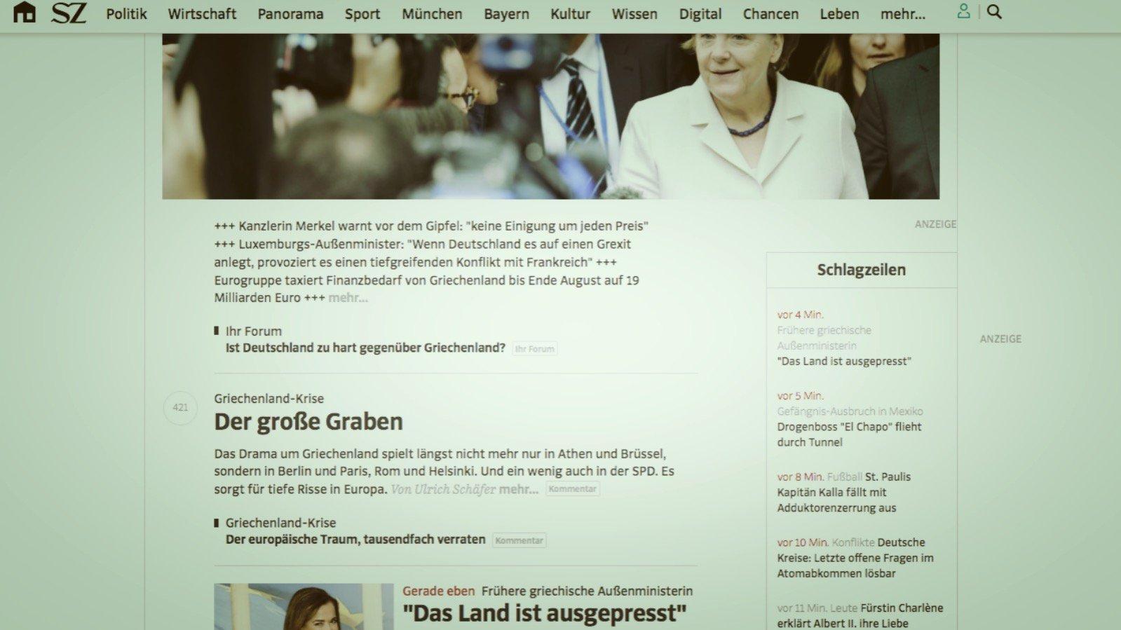 Startseite der Süddeutschen am 12.07.2015
