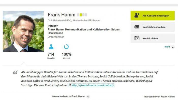 Xing-Profil (Frank Hamm)