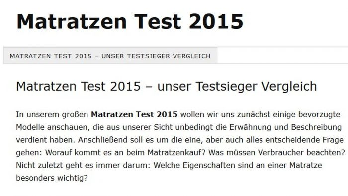 Matratzen Test