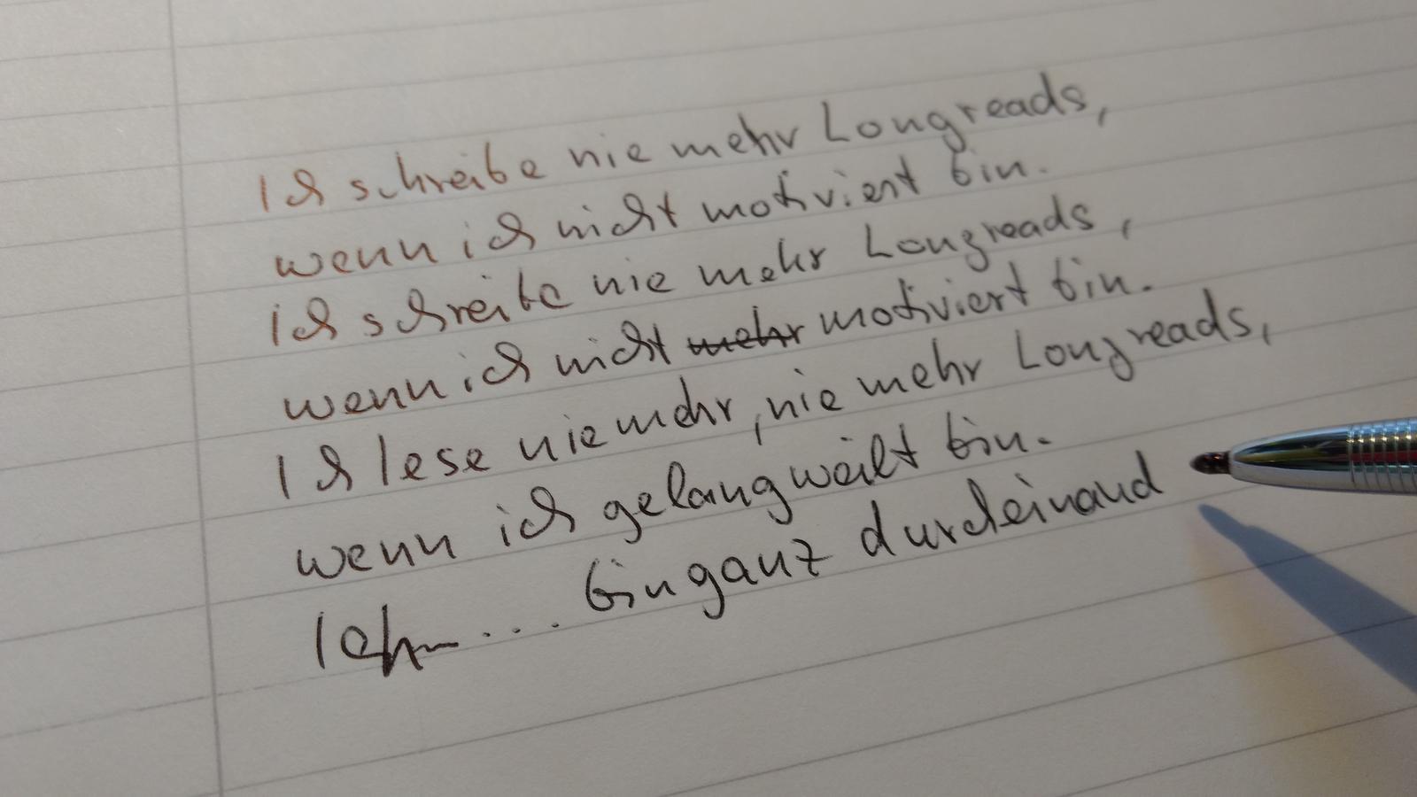 Ich schreibe nie mehr Longreads ...