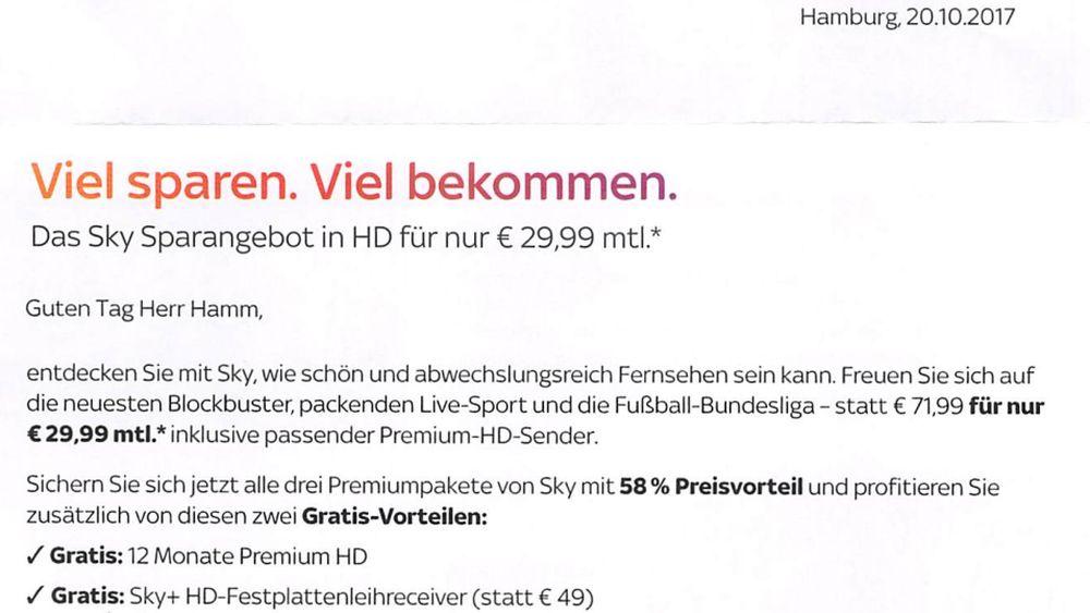 Sky Deutschland Sparangebot in HD