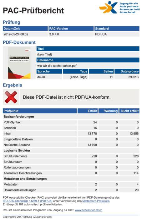 CDU: Wie wir die Sache sehen (PAC Report, Screenshot)