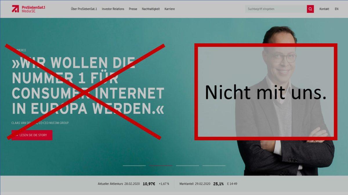 ProSiebenSat.1-Gruppe: Nummer 1 - nicht mit uns (Screenshot 01.03.2020)