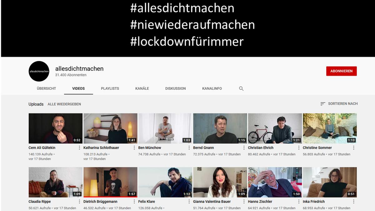 Youtube-Kanal allesdichtmachen (Screenshot 23.04.2021)
